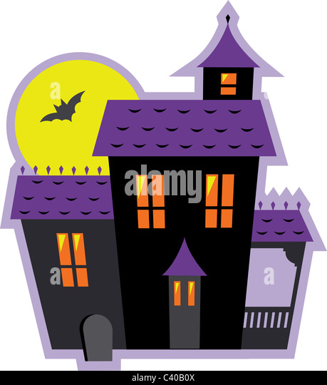 Illustration of a haunted halloween house - Stock Image