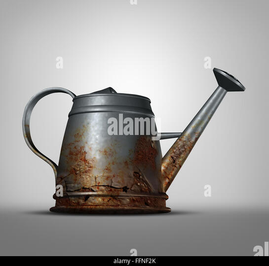 Water problem as a watering can that is corroded and decaying with with rust due to neglected weathering and oxidation - Stock Image