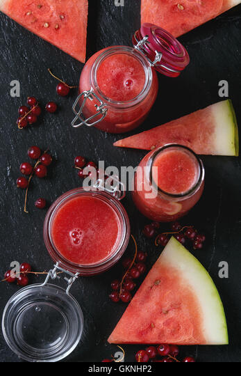 Watermelon and red currant smoothie - Stock Image
