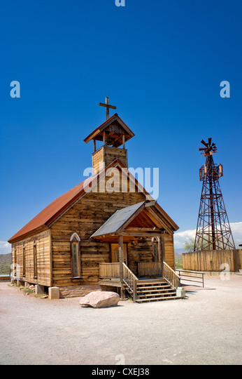 New Testament Christian Church. Goldfield ghost town, Arizona. - Stock Image