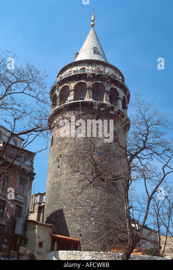 Turkey Istanbul Tunel Quarter Galata Tower built 1348 built by Genoese 62 meters public observatory at top - Stock Image