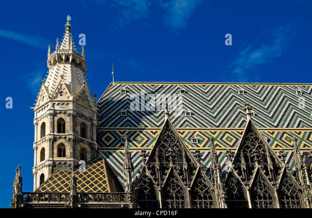 Roof of Stephansdom, UNESCO World Heritage Site, Vienna, Austria, Europe - Stock Image