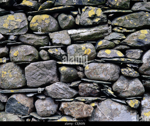 Drystone wall close-up. Newlands valley, Cumbria, England, UK. In the Lake District National park. - Stock Image
