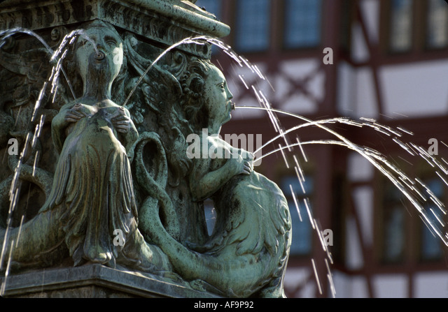 Germany Frankfurt Romer Square Fountain of Law - Stock Image