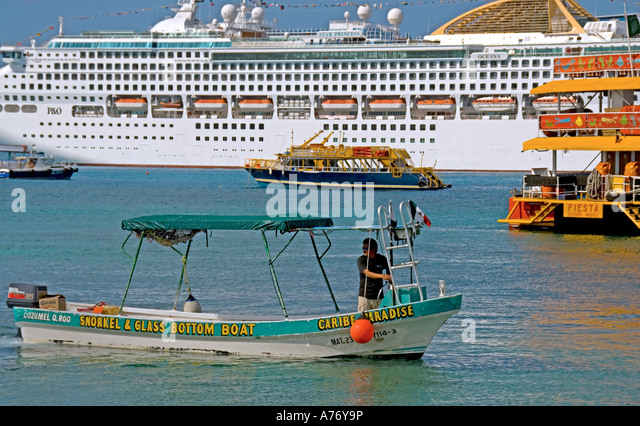 Cozumel Mexico San Miguel town cruise ship tour boat - Stock Image