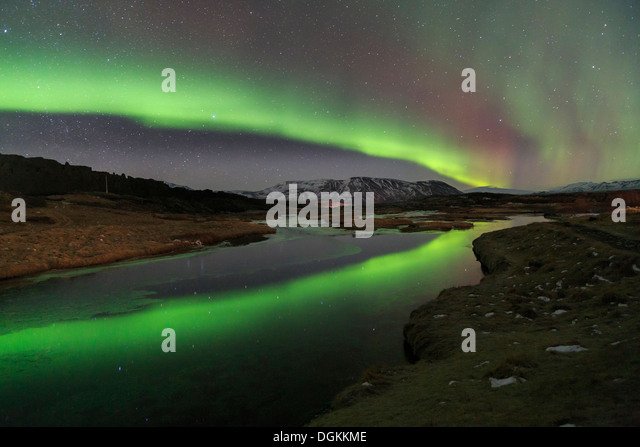 Aurora borealis over Lake Thingvallavatn in Thingvellir National Park in Iceland. - Stock Image