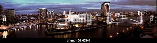Salford Quays Media City UK at dusk panorama, Manchester, England, UK M50 3AH - Stock Image