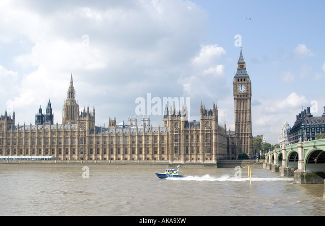 The Houses of Parliament in Westminster London - Stock Image