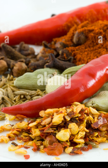 A selection of spices against a white background - Stock Image