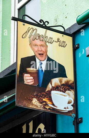 Sign depicting Martin McGuinness at the Falls Rolls Cafe, Falls Road, Belfast, County Antrim, Northern Ireland, - Stock Image