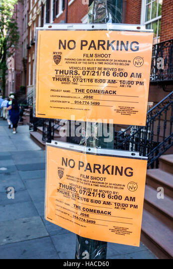 New York New York City NYC Manhattan Washington Square sign no parking film shoot notice Mayor's Office of Film - Stock Image