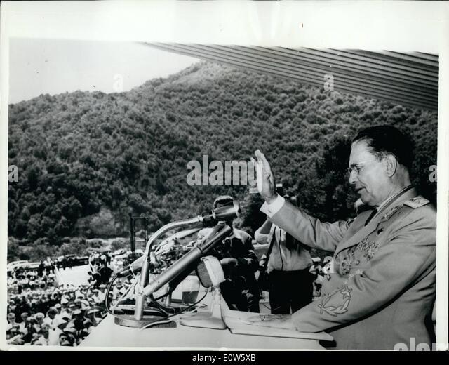 Jul. 07, 1961 - Twentieth Anniversary Of The Yugoslavian Uprising: President Josip Broz Tito of Yugoslavia spoke - Stock Image