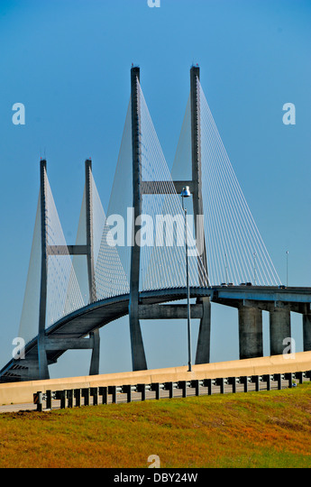 The Sidney Lanier Bridge gives access to Jekyll Island. The Island is known as the jewel in the State of Georgia, - Stock Image