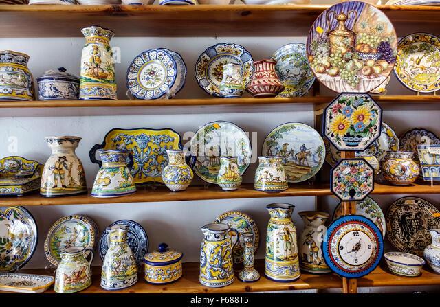 Spain Europe Spanish Hispanic Toledo De la Puente Ceramica gift shop store business souvenir shopping ceramics pottery - Stock Image