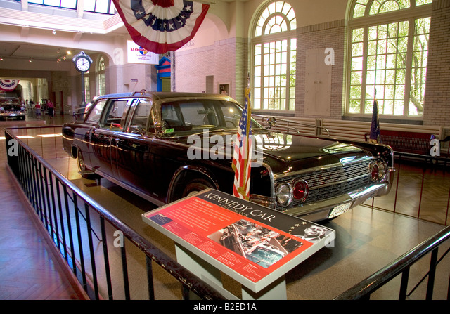 John F Kennedy 1961 Lincoln Presidential Limousine at The Henry Ford Museum in Dearborn Michigan - Stock Image