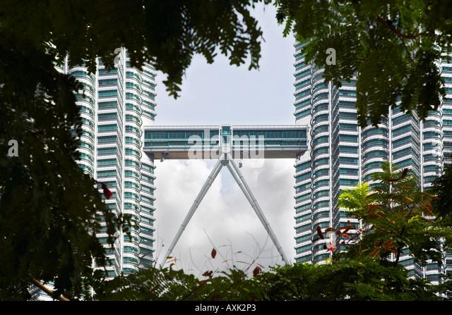 business working new city skyscraper building windowns office lines angles ground pillars modern bridge triangle - Stock Image