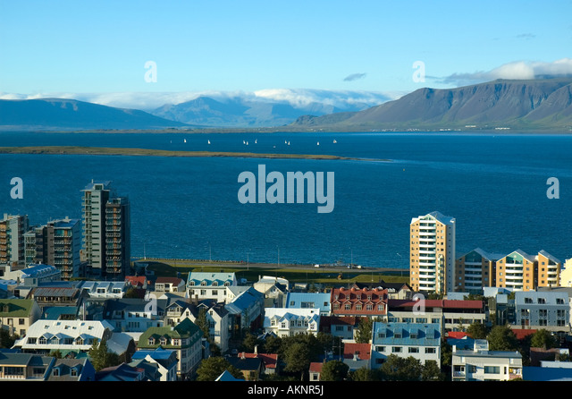 View over Reykjavik from the tower of Hallgrímskirkja, the church of Hallgrímur, Reykjavik Iceland - Stock Image