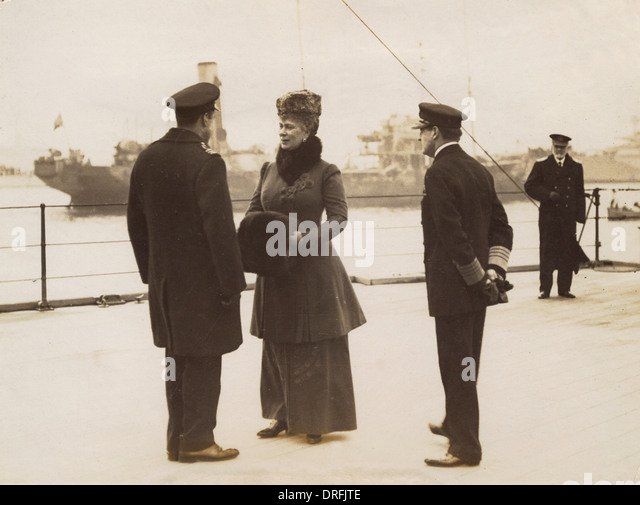 Viscount Curzon, Queen Mary and Admiral David Beatty - Stock Image