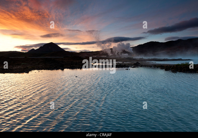 Energy generation, geothermal energy, near Lake Myvatn, northern Iceland, Europe - Stock Image