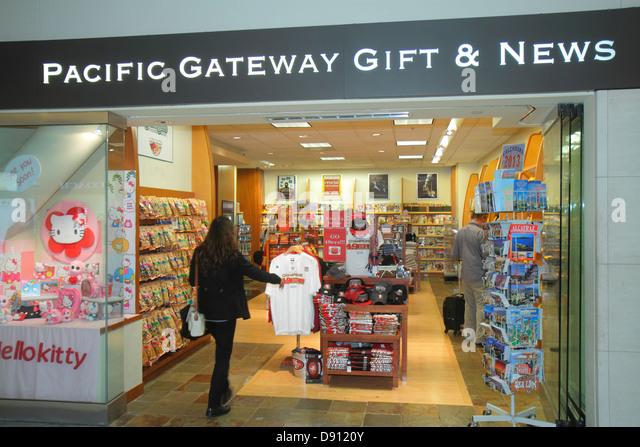 California San Francisco International Airport SFO gate area concourse terminal shopping front entrance for sale - Stock Image