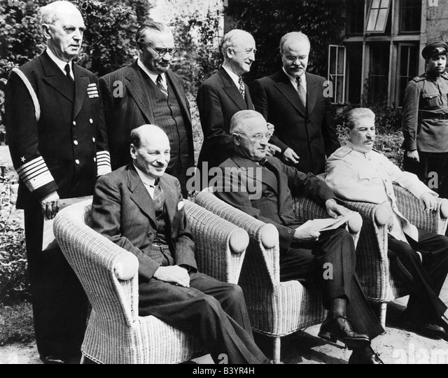 events, Second World War / WWII, conferences, Potsdam Conference 17.7.1945 - 2.8.1945, sitting: Clement Attlee, - Stock Image