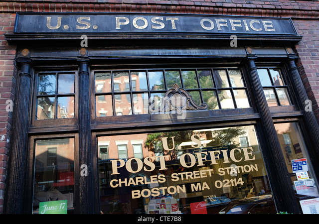 U.S. Post office front window, Charles Street, Boston, Massachusetts - Stock Image