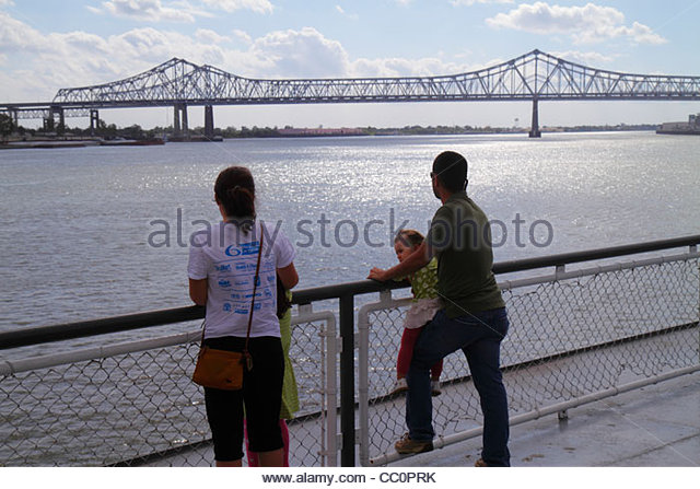 Louisiana New Orleans Mississippi River Canal Street Ferry Algiers CCCD Crescent City Connection bridge ferryboat - Stock Image