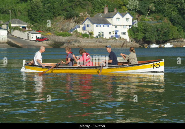Gig number 48 in action on the River Fowey opposite Bodinnick Fowey Restormel Mid Cornwall South West England UK - Stock Image