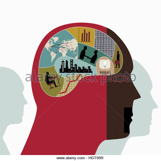 Montage of business, finance, data, connections and education inside of man's head - Stock-Bilder
