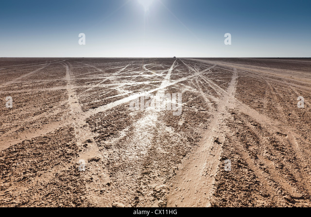Tracks on beach on island of Djerba, Tunisia - Stock Image
