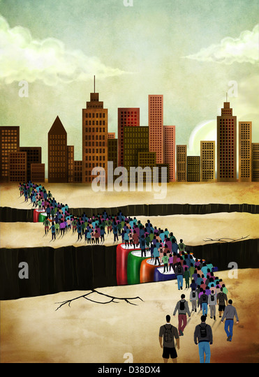 Illustrative image of people bridging gap - Stock Image