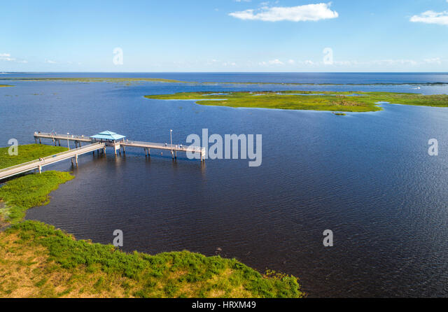 Lake Okeechobee Florida pier aerial water - Stock Image
