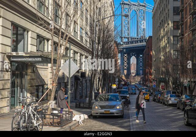 United States New York Brooklyn Dumbo district Manhattan bridge Washington St - Stock Image