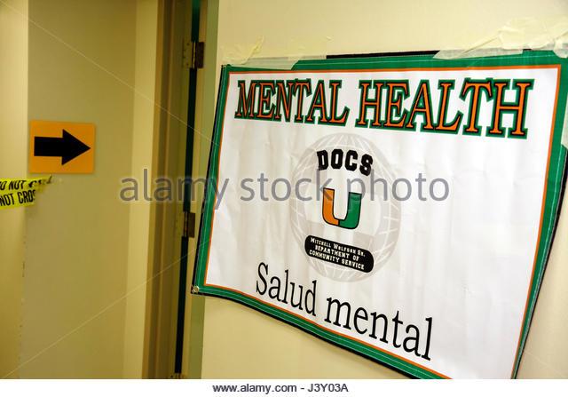 Miami Florida Liberty City Jessie Trice Community Health Center fair free care exam sign mental health psychiatry - Stock Image