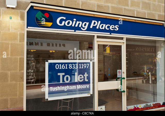 GOING PLACES travel agency shop TO LET - Stock-Bilder