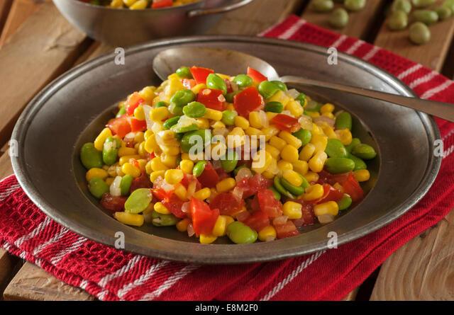 Succotash. Corn and lima bean stew. USA Food - Stock Image