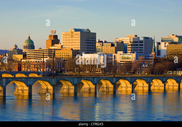 Skyline of Harrisburg, capital of Pennsylvania, on Susquehanna River, in Dauphin County - Stock Image