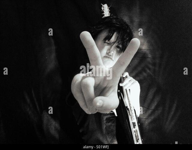 Black & White kid rock star - Stock-Bilder