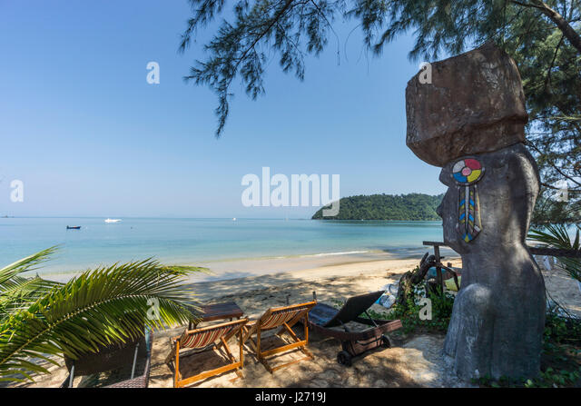 Buffalo Bay, Ao Khao Kwai, Sculpture, Resort, beach chairs,  Koh Phayam, Thailand - Stock Image