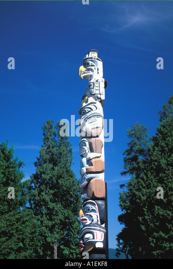 Vancouver Canada Stanley Park Totem Pole - Stock Image