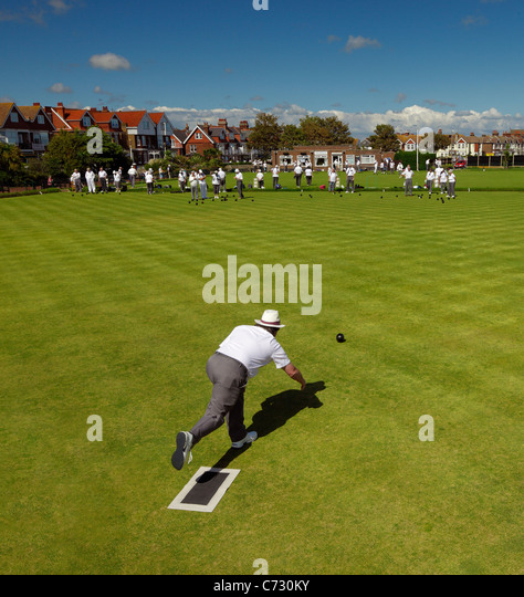 Eastbourne Parade Bowling club. - Stock Image