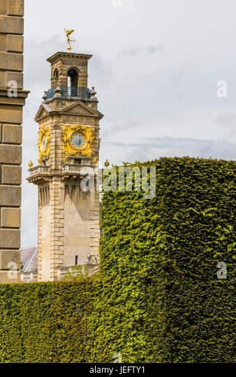 Clock tower at noon at Cliveden, Buckinghamshire, UK - Stock Image