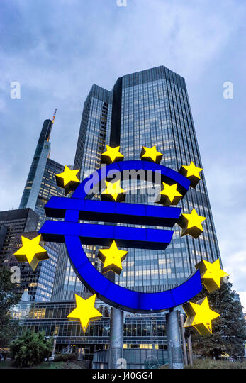 Germany, Hessen, Frankfurt-am-Main, Euro Tower, Euro Symbol, Willy Brandt Platz, skyline, Commerzbank - Stock Image