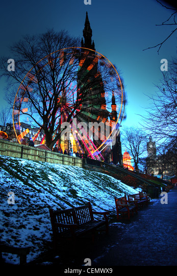 Edinburgh Big Wheel at Dusk, winter gardens at Princes StStreet night shot, Scotland UK. Taken at blue hour @HotpixUK - Stock Image