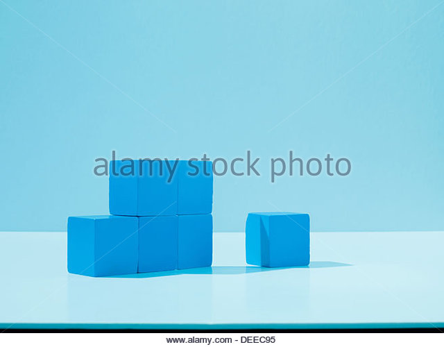 Stack of blue blocks - Stock Image