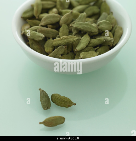 Cardamom pods - one of a series of spice images - Stock Image