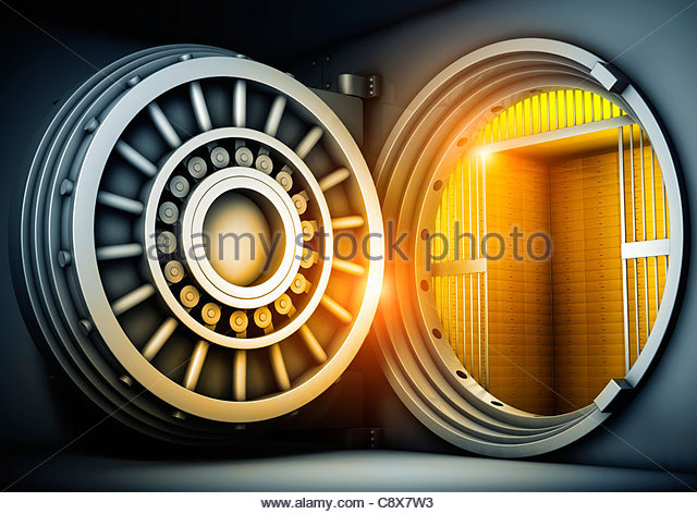 Open safe door - Stock Image