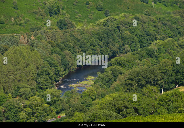 View over the River Wye in the Upper Wye Valley near Builth Wells, Powys, Wales, UK - Stock Image