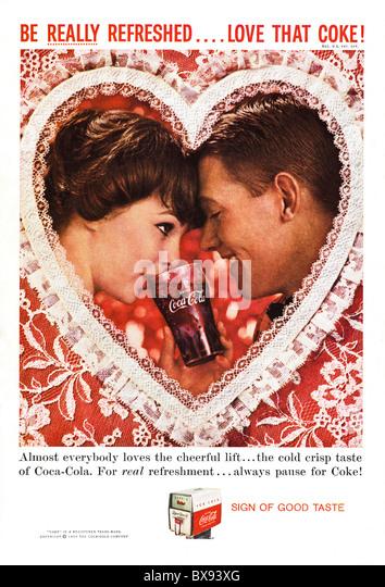 Classic Coca Cola colour advert featuring Valentines Day in American magazine circa February 1959 - Stock-Bilder
