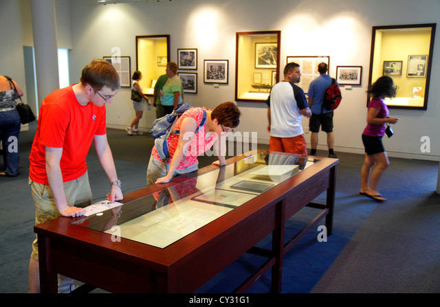Massachusetts Boston South Boston JFK John F. Kennedy Presidential Library & and Museum exhibit collection man - Stock Image